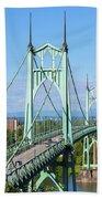 St Johns Bridge Over Willamette River Beach Towel