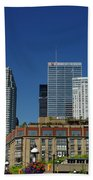 St Lawrence Market And Gooderham Flatiron Building With Cn Tower Beach Towel