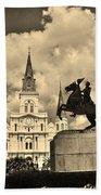 St. Louis Cathedral And Statue Beach Towel