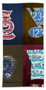 St Louis Sports Fan Recycled Vintage Missouri License Plate Art Cardinals Blues Rams Beach Towel