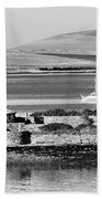 St. Margarets Hope, Orkney.    Black And White Beach Towel