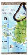 St. Martin St. Maarten Map Beach Towel