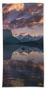 St Mary Lake At Dusk Panorama Beach Sheet