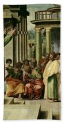St. Paul Preaching At Athens  Beach Towel by Raphael