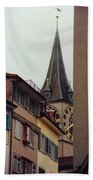 St. Peter Tower Zurich Switzerland Beach Towel by Susanne Van Hulst