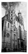 St Stephens Cathedral Vienna In Black And White Beach Towel