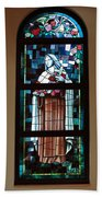 St. Theresa Stained Glass Window Beach Towel