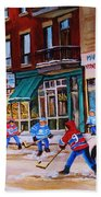St. Viateur Bagel With Boys Playing Hockey Beach Towel by Carole Spandau