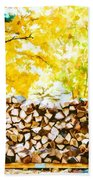 Stack Of Firewood Beach Towel