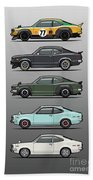 Stack Of Mazda Savanna Gt Rx-3 Coupes Beach Towel