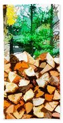 Stacked Fire Wood In Preparation For Winter 1 Beach Towel