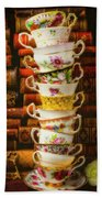 Stacked High Tea Cups Beach Towel