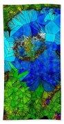 Stained Glass Blue Poppy One Beach Towel