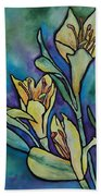 Stained Glass Flowers Beach Towel