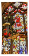 Stained Glass Lantern And Window Beach Towel