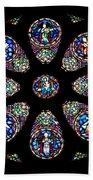 Stained Glass Rose Window In Lisbon Cathedral Beach Towel