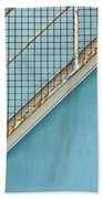 Stairs On Blue Wall Beach Towel
