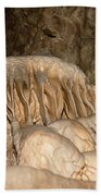 Stalactite Formation In Karst Cave Beach Towel