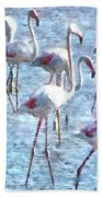 Stand Out In The Crowd Flamingo Watercolor Beach Towel