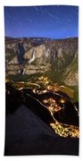 Star Trails At Yosemite Valley Beach Towel