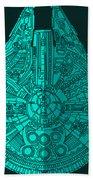 Star Wars Art - Millennium Falcon - Blue 02 Beach Towel