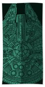 Star Wars Art - Millennium Falcon - Blue Green Beach Towel