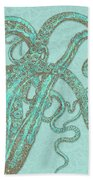 Stardust Tentacles, Aqua Watercolor Octopus Coated With Stardust Beach Towel