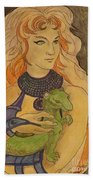 Starfire With Beast Boy In The Form Of A Ermine Beach Towel