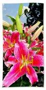 Stargazer Lilies #2 Beach Towel