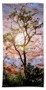 Starry Night Fantasy, Tree Silhouette Beach Towel