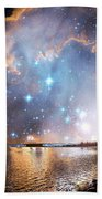 Starry Night Over A Mountain Lake Fantasy Beach Towel