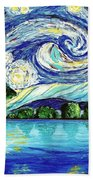 Starry Night Over The Lake Beach Towel