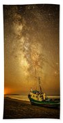 Stars Over Fishing Boat Beach Towel