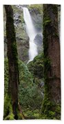 Starvation Creek Falls Between The Trees Beach Towel