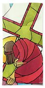 Stations Of The Cross - 07 Jesus Falls A Second Time - Mmjti Beach Towel
