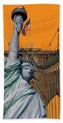 Statue Of Liberty - Brooklyn Bridge Beach Towel