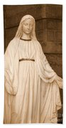 Statue Of Mary At Sacred Heart In Tampa Beach Towel