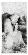 Statue Of Weeping Woman, Lafayette Cemetery, New Orleans In Black And White Sketch Beach Towel