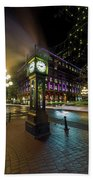 Steam Clock In Gastown Vancouver Bc At Night Beach Sheet