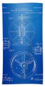 Steam Engine Blueprint Beach Towel