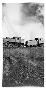 Steam Engines Pulling A Train Beach Towel