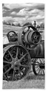 Steam Powered Tractor - Paint Bw Beach Towel