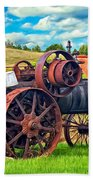 Steam Powered Tractor - Paint Beach Towel