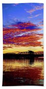 Steel Bridge Sunset Silhouette Beach Towel