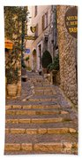 Steep Street In St Paul De Vence Beach Towel
