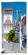 Steep Streets Up The Hills In Valparaiso-chile   Beach Towel