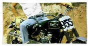 Steve Mcqueen, Triumph Motorcycle, On Any Sunday Beach Towel