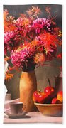 Still - Floral And Fruit Beach Towel
