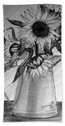 Still Life - 6 Sunflowers In A Jug Beach Towel