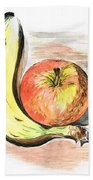 Still Life Of Apple And Banana  Beach Towel
